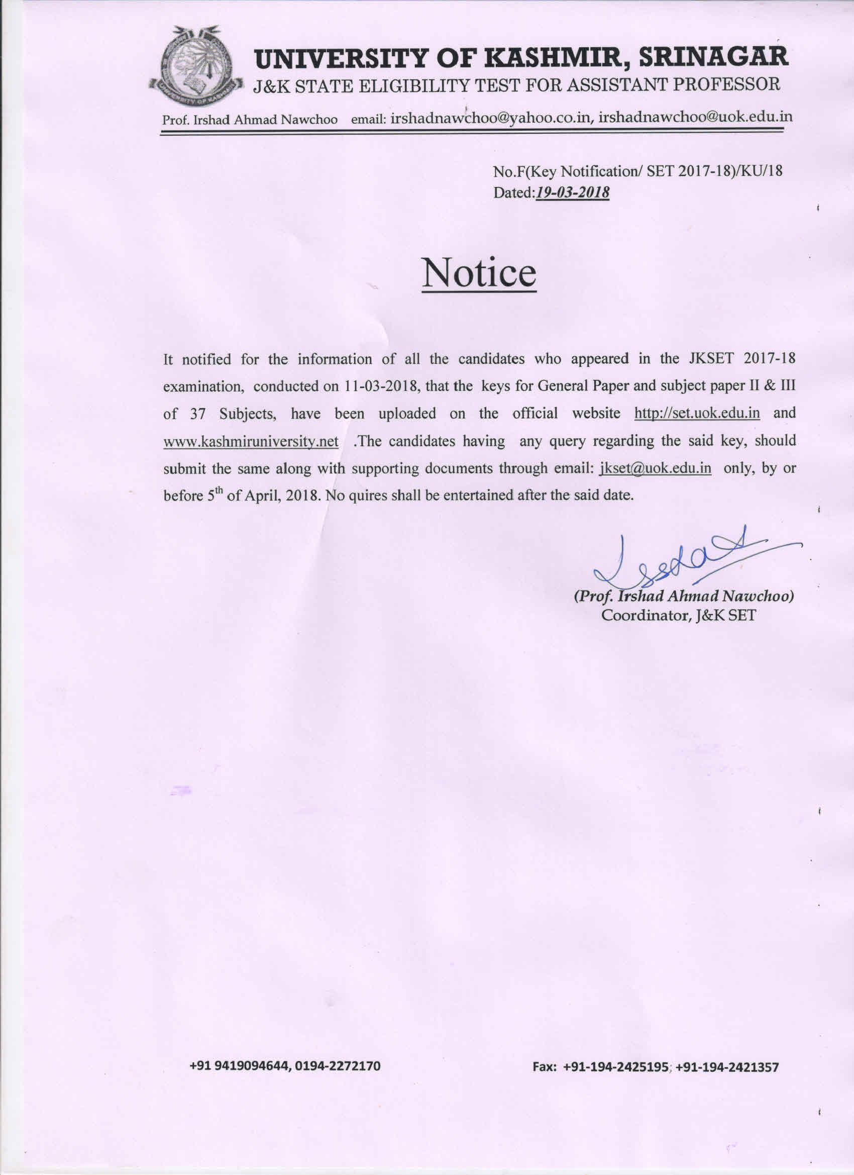 J & K SET Agency, University of Kashmir